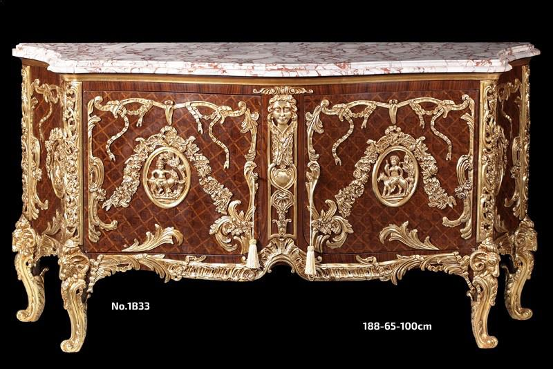 Fountaine Bleau, Commode Médaillier-Louis xv ormolu-mounted commode a vantaux after the model Commode Medaillier by Slodtz brothers and Antoine Gaudreaux circa 1890