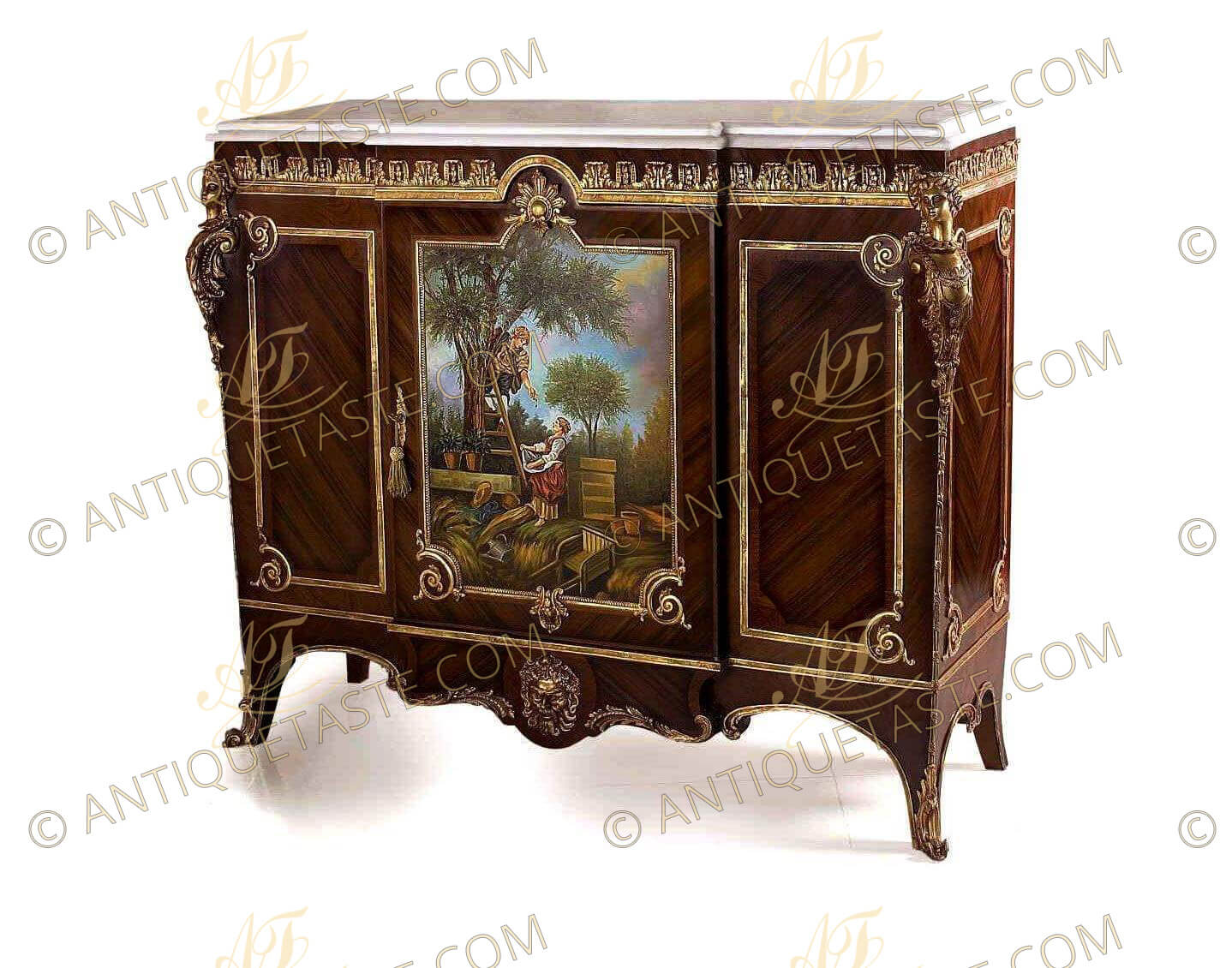 Late 19th century gilt bronze mounted louis xv style vernis martin cabinet by - Meuble style louis xv ...