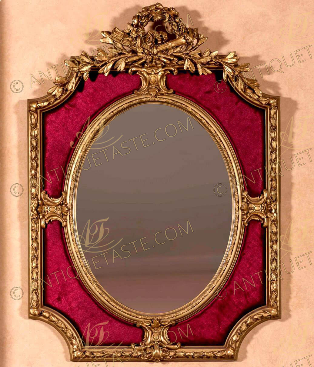 French mid 19th century Louis XVI period style finely carved double frame giltwood velvet upholstered overmantel mirror