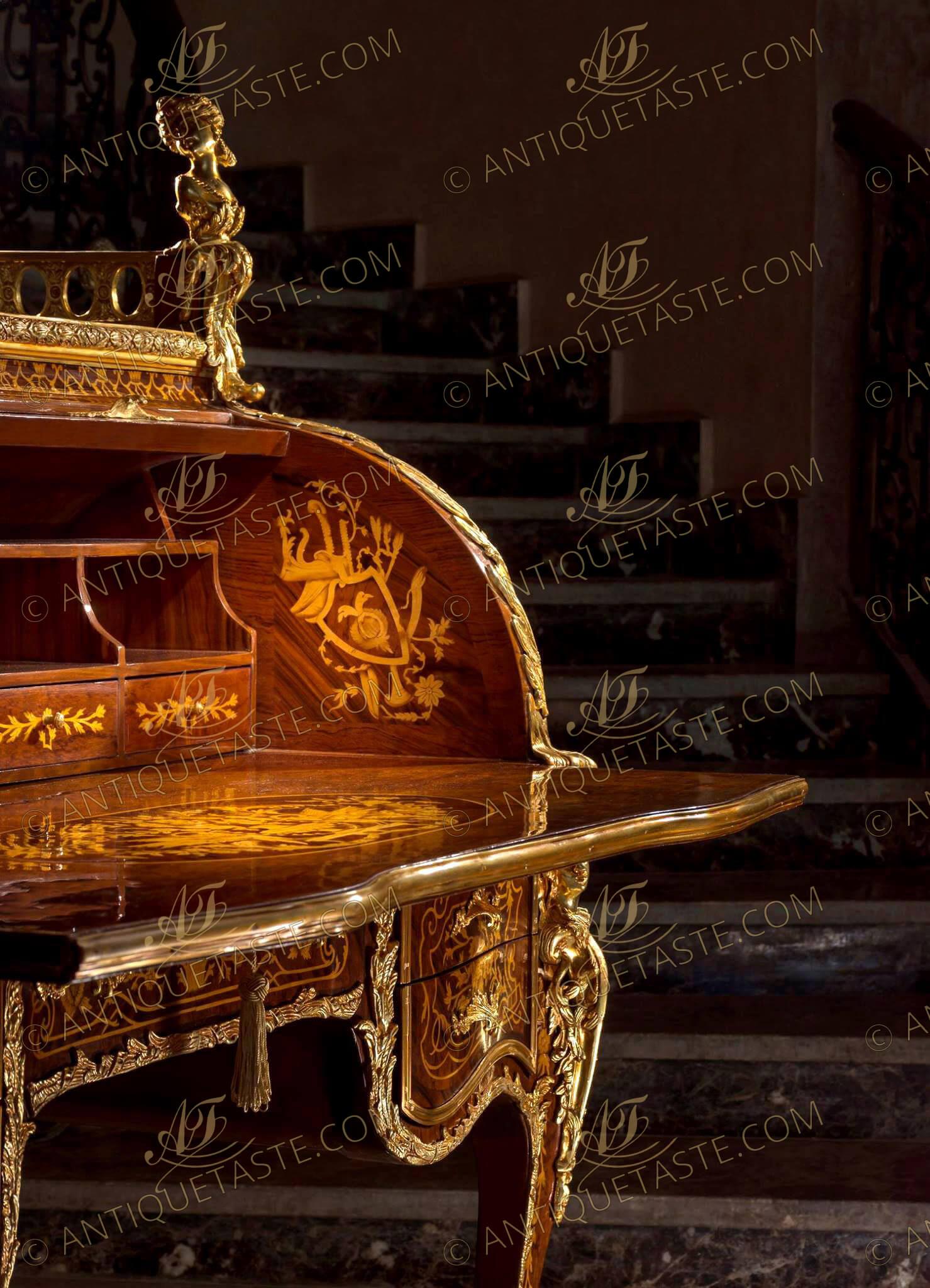 18th century bureau du roi secretaire cylindre de louis xv the king desk after the model by. Black Bedroom Furniture Sets. Home Design Ideas