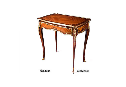 French Louis XV style ormolu-mounted sans-traverse quarter veneer inlaid side drawer and a sliding writing panel lady's writing Table after the model by François linke