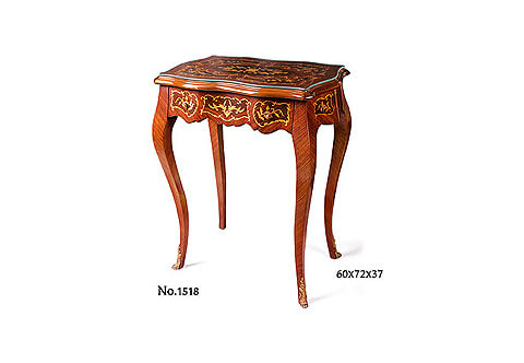 Louis XV style floral marquetry and veneer inlaid ormolu acanthus sabots one drawer Table À Écrire De Dame