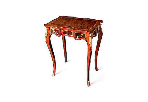 French Louis XV style ormolu-mounted veneer inlaid scalloped shaped one drawer Lady Writing Table
