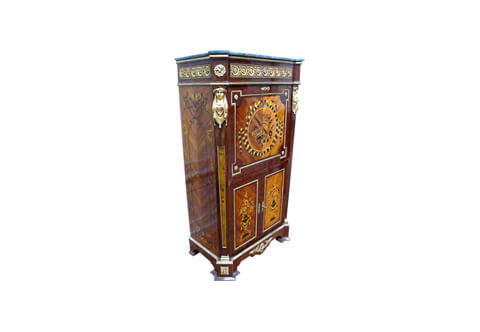 Napoleon Empire style ormolu and marble mounted marquetry and veneer inlaid Fall front Secretary