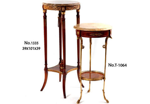 French Louis XVI gilt-ormolu pierced gallery marble topped fluted supports circular Pedestal Stand after the model by François Linke
