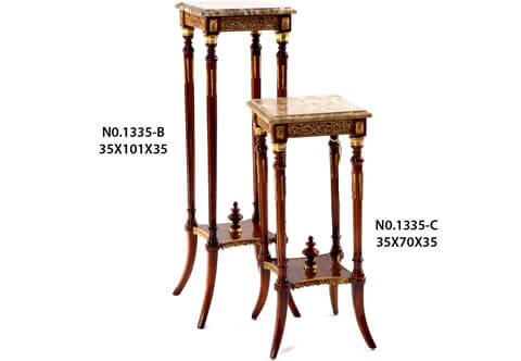 French Louis 16 gilt-ormolu pierced gallery marble topped fluted supports square shaped Pedestal Stand after the model by François Linke