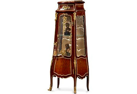 Petite Louis XV style ormolu-mounted trellis parquetry bombe vitrine stand after the model by Francois Linke