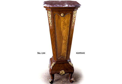French Transitional style gilt-brass-mounted veneer inlaid octagonal shaped marble topped Pedestal Stand