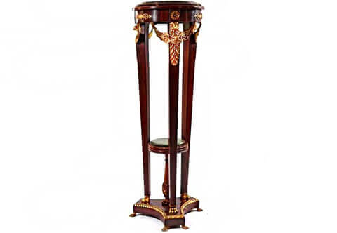 French Empire style winged hawk ormolu-mounted circular shaped inset marble topped Pedestal Stand on the manner of Jacob Desmalter