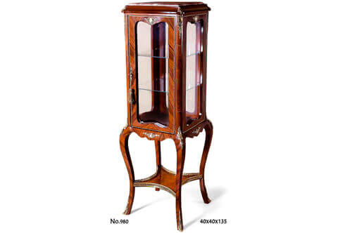 French Louis 15th oxidate-ormolu-mounted sans traverse cut veneer inlaid inset marble topped two glass shelves one glass door ormolu galleried X Stretcher Vitrine Pedestal