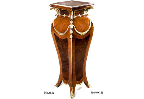 French Louis XV gilt-ormolu-mounted veneer inlaid bombé shaped inset marble topped vase Pedestal