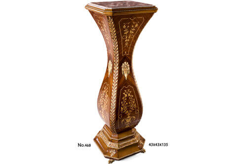 French Louis XV ormolu-mounted exotic marquetry and veneer inlaid inset marble topped bulbous shaped Pedestal on the manner of Gilles Joubert circa 1772 on lion paw feet