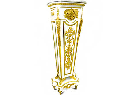 Jean-Henri Riesener French Louis XVI style white painted gilt-ormolu-mounted Carrara marble topped Vase Stand