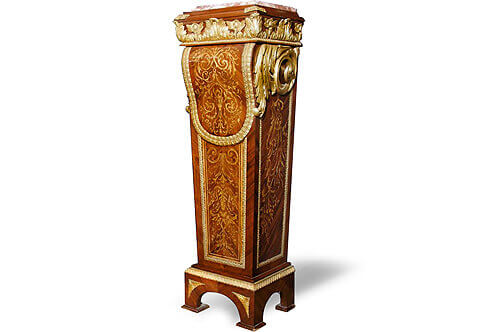 Louis Philippe Gilt-Bronze Mounted Boulle Marquetry Inlaid Pedestals by gaines à tablier' After the celebrated model model by André-Charles Boulle late 17th century