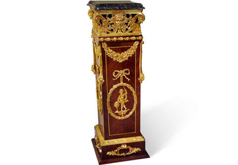 French Louis XVI style gilt-ormolu-mounted sans-traverse quarter veneer inlaid Pedestal, late 19th century, Luxurious Pedestals, Jean-Henri Riesner Pedestal, Francois Linke Pedestal, Maison Millet Pedestal, Corners Decoration, French style Stand, Andres Charles Boulle Pedestal, Theodore Millet Style Pedestal, Robert Adam style Vase Stand, Empire Style Pedestal, Vitrine Stands, Louis XV style Pedestals, Bombe Shape Stand, Louis XVI Pedestals, Ormolu-mounted Stand, English style Pedestal, Empire style Pedestal, George III style Pedestals, Heritage Pedestals, Display Stands