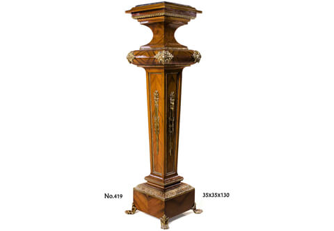Paul Sormani Neoclassical Louis XVI style ormolu-mounted sans traverse quarter veneer inlaid tapered shaped Pedestal Stand