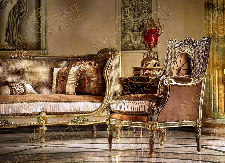 Seating French Furniture Salon Set Love Seat Sofa