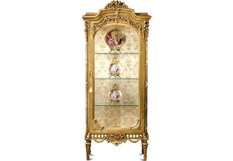 louis xvi carved and gilded display vitrine